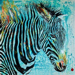 Zebra by Alejandro Hermann -  sized 59x59 inches. Available from Whitewall Galleries